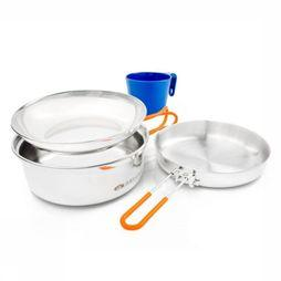 GSI Outdoors Pot Glacier Stainless 1 Person Mess Kit Geen kleur