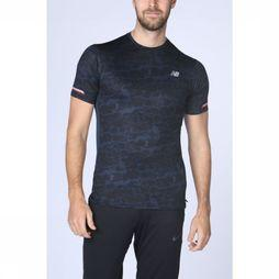 New Balance T-Shirt Printed Ice 2.0 Sleeve Zwart/Donkerblauw
