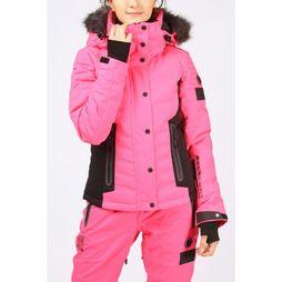 Superdry Coat Luxe Snow Puffer dark pink/black