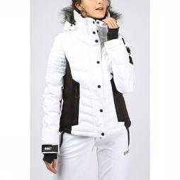 Superdry Coat Luxe Snow Puffer white/black
