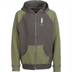 United By Blue Kids Pull Wild Life Zip Up Hoodie Kaki Moyen/Gris Clair Mélange