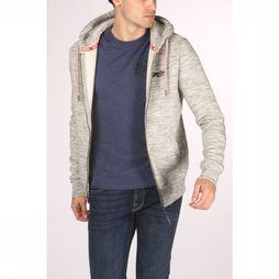 Superdry Cardigan Orange Label Classic Zip Hood Gris Clair Mélange