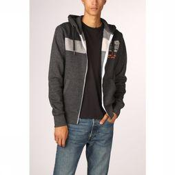 Superdry Cardigan Sweat Shop Magma Panel Ziphood Donkergrijs Mengeling
