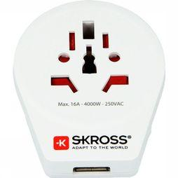 S-Kross Wereldstekker World To Europe USB Wit