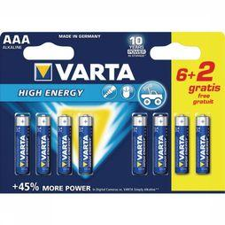 Varta Battery AAA 6+2 Pack Longlife Power No Colour