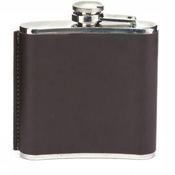 Kikkerland Gadget Small Leather Hip Flask dark brown/silver