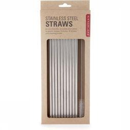 Kikkerland Gadget Stainless Steel Straws silver