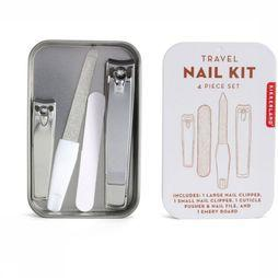 Kikkerland Gadget Travel Nail Kit Wit/Zilver