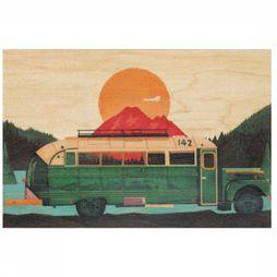Woodhi Gadget Postcard Bus Brun Clair/Assortiment