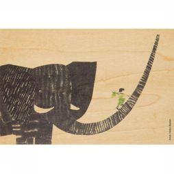 Woodhi Gadget Postcard Boy On Elephant Brun Clair/Assortiment