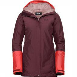 Jack Wolfskin Donsjas North Ice Bordeaux/Oranje