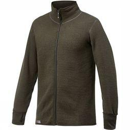 Woolpower Trui Full Zip Jacket 600 (warmest unisex midlayer) Donkergroen