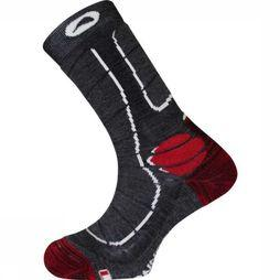 Monnet Chaussette Trek Medium Gris Moyen/Rouge
