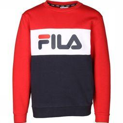 Fila Pull Night Blocked Crew Bleu Foncé/Rouge