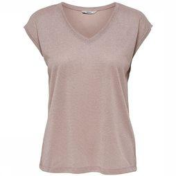 T-Shirt Silvery V Neck Lurex