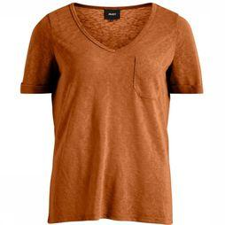 Object T-Shirt Tessi Slub Ss V Neck Seasonal Kameelbruin