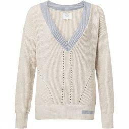 Yaya Pull Structured V-Neck Knit Blanc Cassé