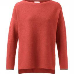 Yaya Trui Basic Cotton Boat Neck With Rib Knitted Sleeves Roest