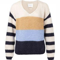 Yaya Pullover Blockstripe Vneck Ecru/Light Blue