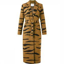 Yaya Coat Long Woolen Zebra Print camel/black