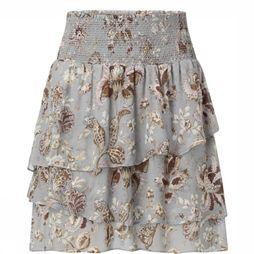 Yaya Jupe Flowy With Smocked Waistband Bleu Clair/Assortiment Fleur