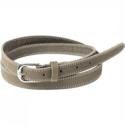 Yaya Riem Belt With Contrast Stitching Zandbruin