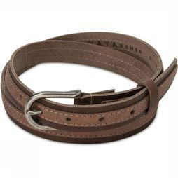 Yaya Belt Leather Belt With Metallic Tape dark brown