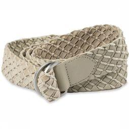 Yaya Riem Leather Crochet Zandbruin