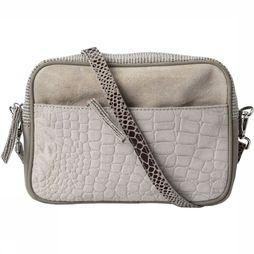 Yaya Tas Mixed Leather Crossbody Zandbruin