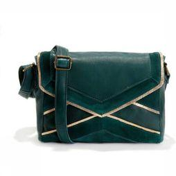 Pieces Tas cornelia Leather Crossbody Middengroen/Goud