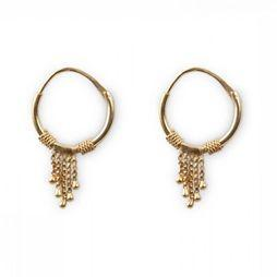 Yaya Boucle D'Oreille Small Hoop With Chains Or