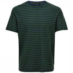 Only&Sons T-Shirt balo Ss Jacquard Donkerblauw/Middengroen