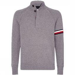 Tommy Hilfiger Pull Monogram Button Mock Gris Clair Mélange