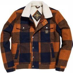 Superdry Coat Hacienda Check camel/dark blue