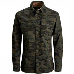 Jack & Jones Chemise Jprteo Cpo Shirt L/S Worker Junior Kaki Moyen/Assortiment Camouflage