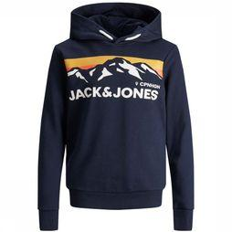 Jack & Jones Pull Jorwilmer Sweat Hood Jr Bleu Foncé