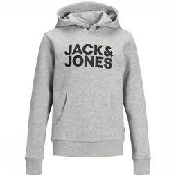 Jack & Jones Pull Jjecrop Logo Sweat Hood Gris Clair Mélange