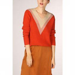 Soft Rebels Pull Nilo V Neck Brun Sable/Rouille