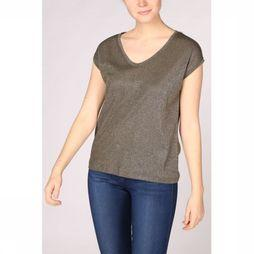 Only T-Shirt Silvery V Neck Lurex Middenkaki