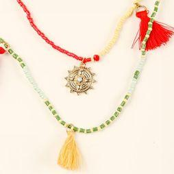 Pieces Collier Benine Combi Rouge/Or