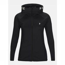 Peak Performance Fleece W Ride Zip Hood Zwart