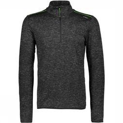 CMP Fleece Man Sweat Printed Carbonium Stretch dark grey/green