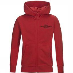 Peak Performance Fleece Jr Logo Zip Rood