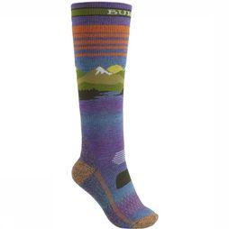 Burton Ski Sock Performance Midwt Wms mid grey/orange