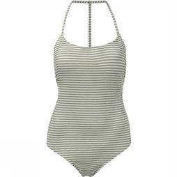 Yaya Badpak Stripes One-Piece With Thin Straps And Racer Back Gebroken Wit/Middenkaki