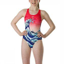 Speedo Bathing Suit Origami Wave dark blue/red