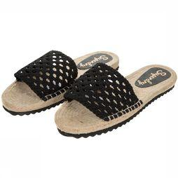 Superdry Tongs Macrame Espadrille Slide Noir