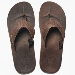 Reef Flip Flop Leather Cntrd Cushon dark brown
