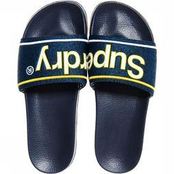 Superdry Slipper College Pool Marineblauw/Geel