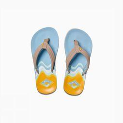 Reef Slipper Little/Kids Ahi Glow Lichtblauw/Geel